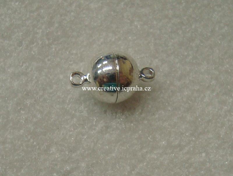 Magnetické zapínání kulaté s očky cca10mm postříbř