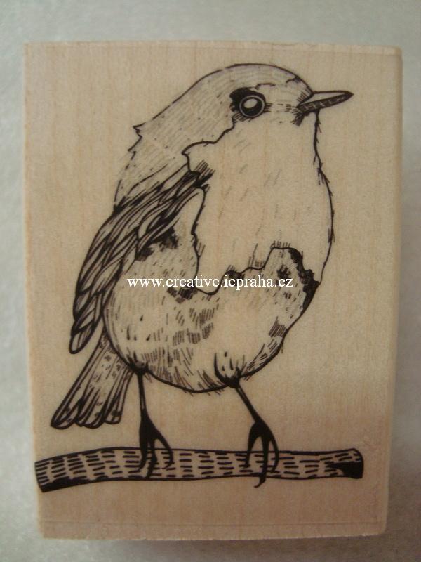 raz. dřevěné Hero Arts - Ptáček 5x4cm