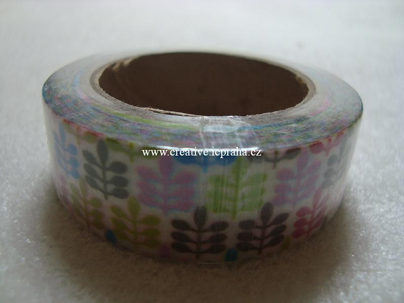 Washi páska - listy barevné 1,5cmx10m
