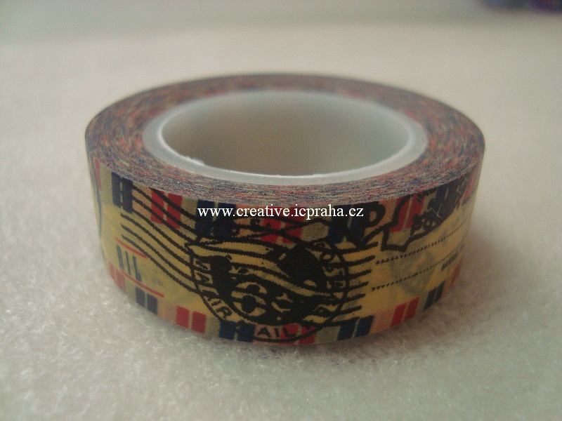 Washi páska - Vintage s razítky 1,5cmx10m 1510 631