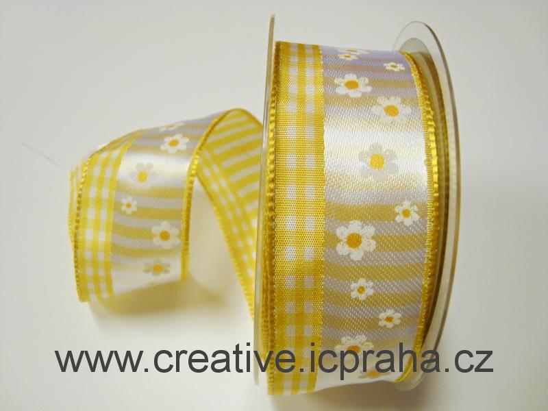 stuha-drátek-kytičky+kostky 40mm - žlutá
