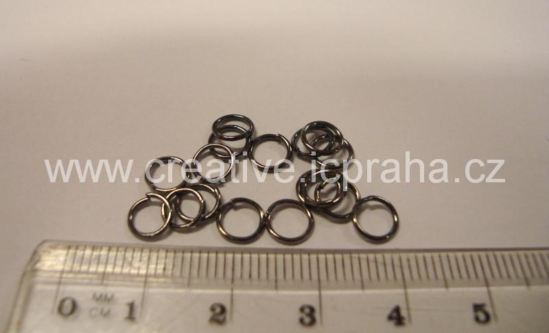 Spojovací kroužek 6mm hematit 50ks