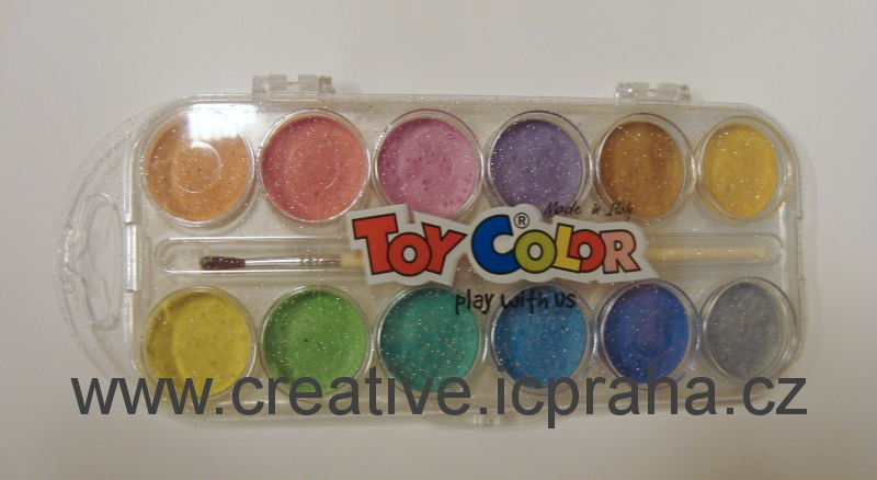 barvy vodové  perleťové 12 barev Toy Color 767