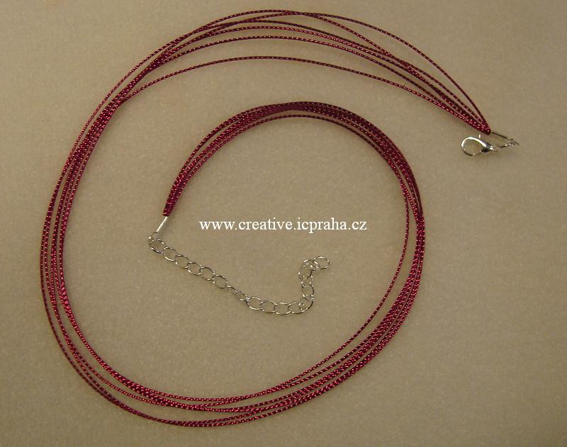 Komplet lurex.šňůrka+karabinka - růžová tm.