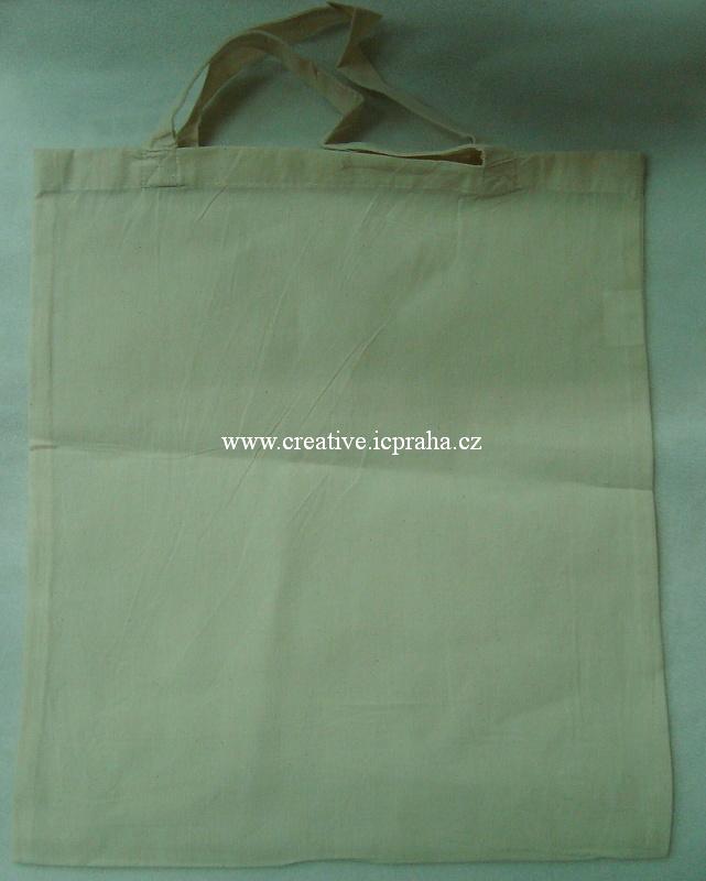 bavlněná taška 38x42cm - krátké ucho - natur