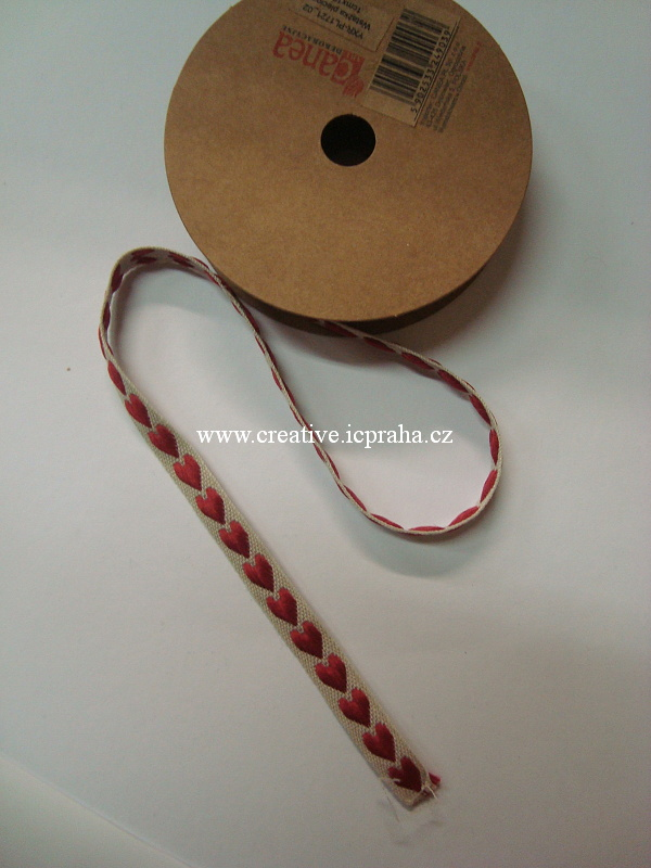 Stuha srdce - 10mm - červená na béžové