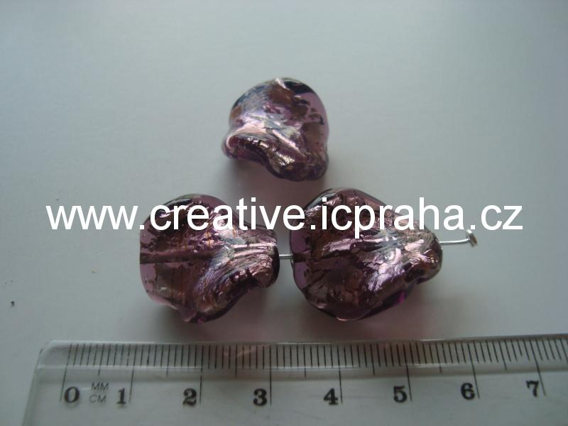 krucánek fialový/stříbro 27019 20x14mm