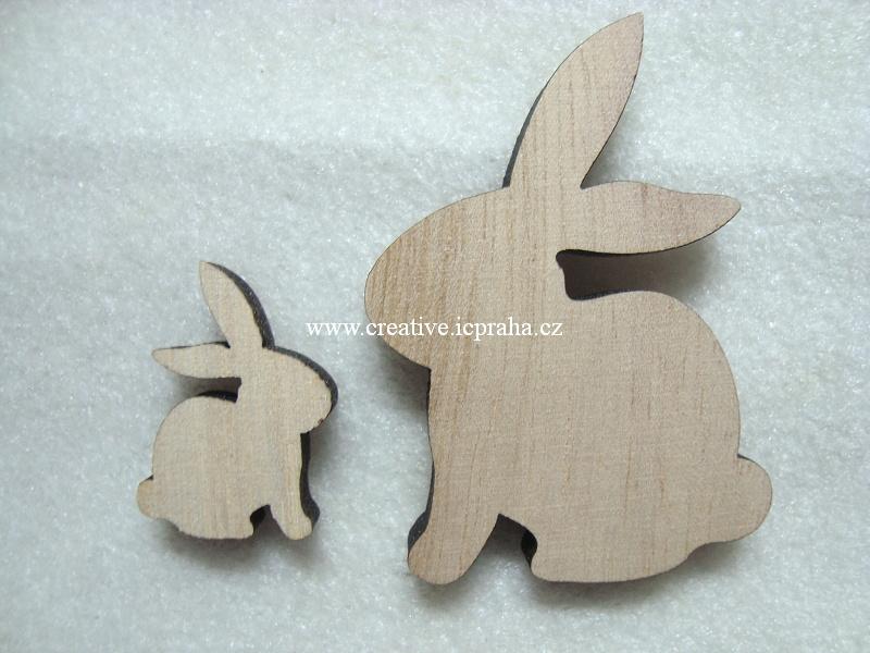 dřevěný zajíc 7,5cm 6 a 3cm natur