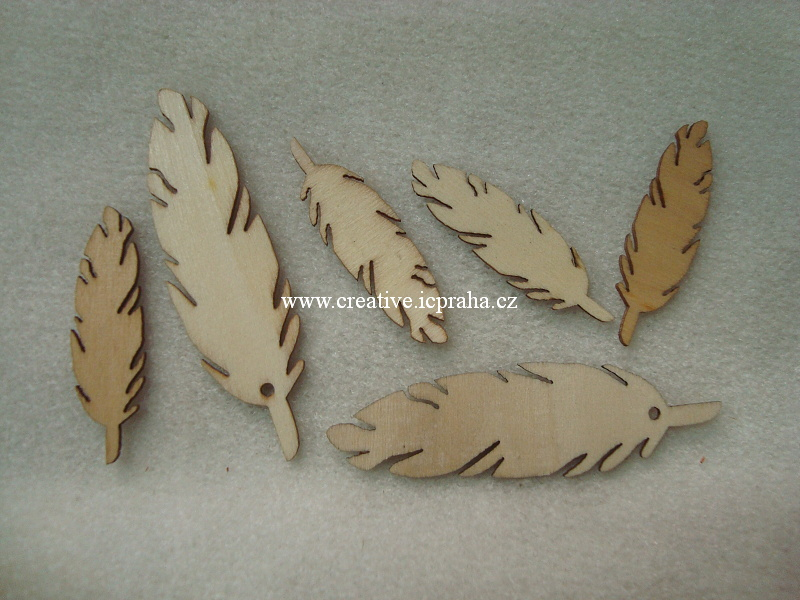 dřevo - peříčka 4+7cm 6ks Ry56997000