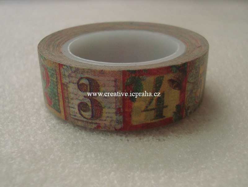 Washi páska - adventní kalend 1,5cmx10m 1510 2694