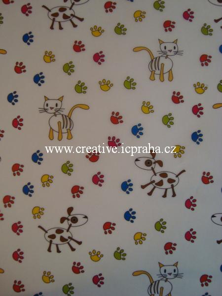 transp.papír 23x33cm - psi,kočky a stopy 84402
