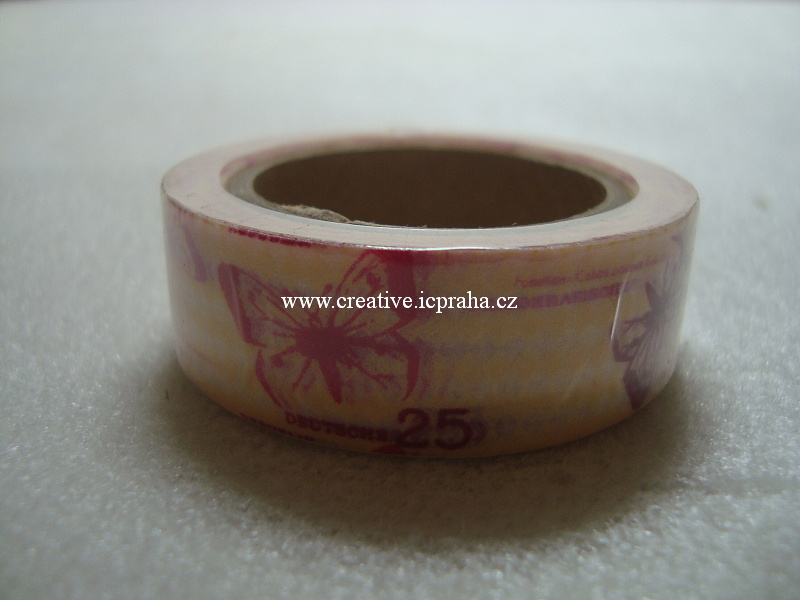 Washi páska - motýli růž. 1,5cmx10m