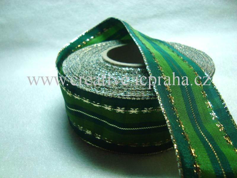 stuha-drátek-kostka 40mm - zelená sv. a tm.