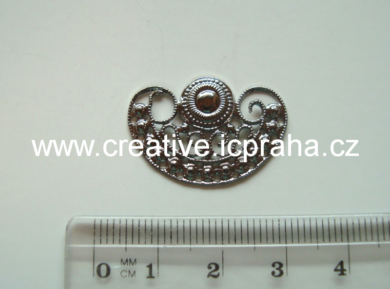 Filigrán ornament 16x14mm platina