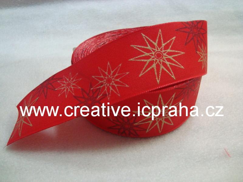 stuha-drátek-vánoční - červená/hvězdy 40mm