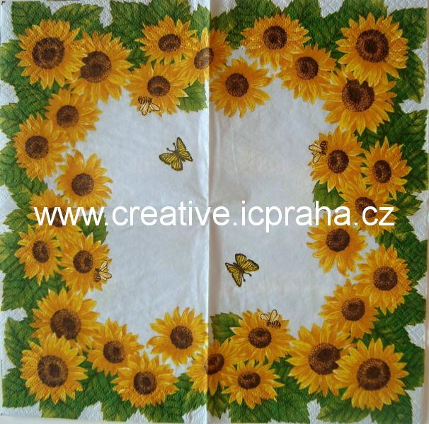 m-slunečnicový rámeček, včelky a motýli - modrý