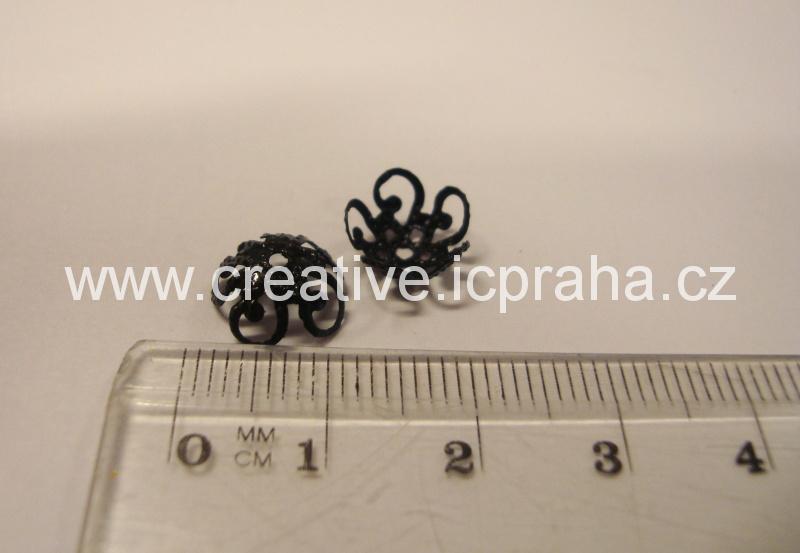 Kaplík 13mm kytička bal.10ks černé