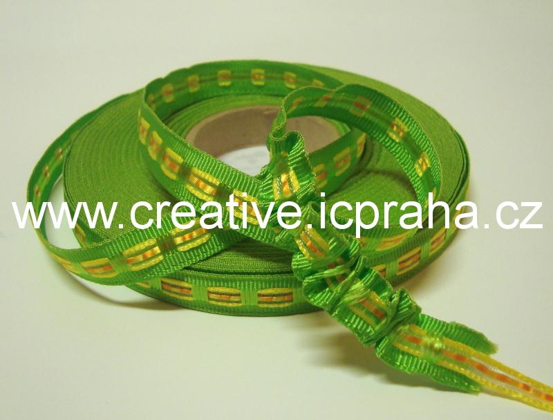 Stuha rypsová - 12mm stahovací zelená
