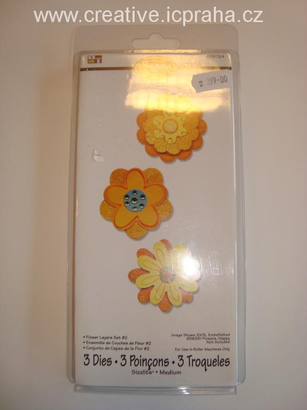 vyřezávací šablona  Sizzlits květy dvojité 3nože