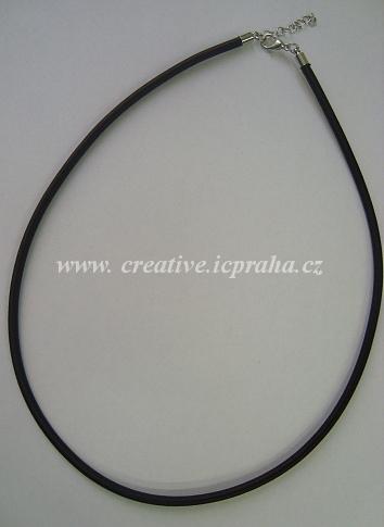 Komplet satén.šňůrka s karabinkou 45cm/3mm -černá