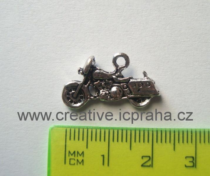 přívěšek Motorka 22x18,5mm starostříbro